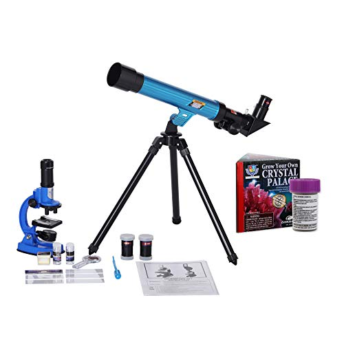 IDS Home Eastcolight Deluxe Microscope and Telescope Set for Kids Begainers, Science Educational Toys, Biological Chemistry Lad Kits with Crystal Growing Set