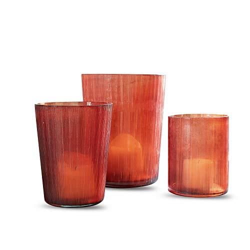 Loberon Windlicht 3er Set Elda, Glas, Groß: H/Ø 20/16cm, Mittel: H/Ø 15/12cm, Klein: H/Ø 13/10cm, braun