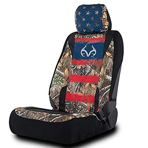 Realtree Edge camo Americana Low Back Seat Covers for SUV, Truck and Car, 2 Pack