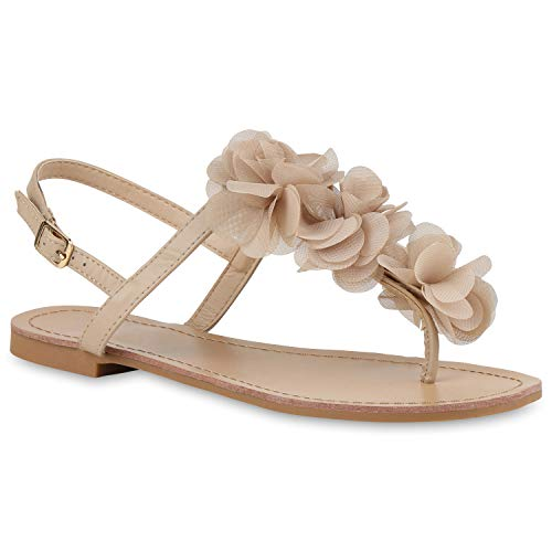 Damen Dianetten Blumen Sandalen Zehentrenner Sommer Flats Beach Zierperlen Schuhe 114996 Nude 39 Flandell