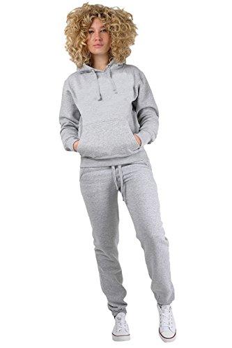 Chándal Parsa Fashions® para mujer, 2 piezas, diseño liso, sudadera con capucha, pantalones largos