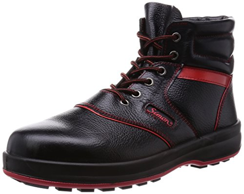 [シモン] 安全靴 中編上 JIS規格 耐滑 耐油 革製 高品質 ハイカット シモンライト SL22 黒/赤 26
