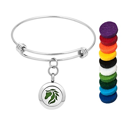 CoolJewelry Essential Oil Bracelet Staniless Steel Locket Magnetic Horse Bracelet Aromatherapy Bangle Jewelry with 10 Color Washable Refill Pads