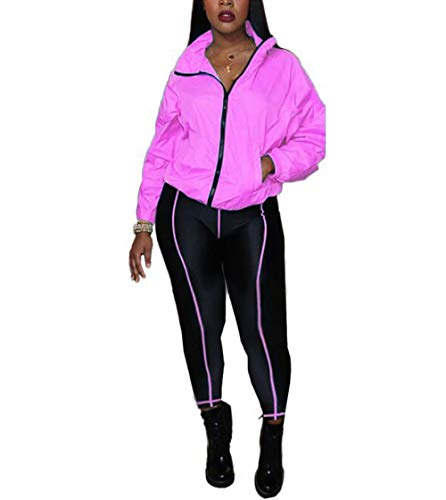 ECHOINE Women's Sexy 2 Piece Outfits Tracksuit Long Sleeve Jacket Skinny Joggers Pants Set Bodycon Jumpsuits Pink 2XL