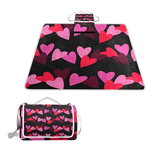 LZXO Jumbo Picknickdecke faltbar Valentinstag Liebe Herz groß 144,8 x 149,9 cm Wasserdicht handliche Matte Tragetasche Kompakte Outdoor Matte mit Griff