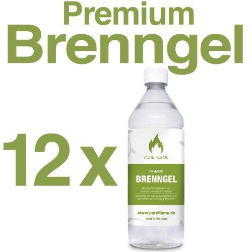12 x 1L Brenngel für Gel Kamine & Gel Feuerstellen - Hergestellt aus TÜV-geprüften Premium Bio-Ethanol 96,6% Vol. - 12 Liter in 1L Flaschen zum handlichen & sicheren Gebrauch - Made in Germany!!!