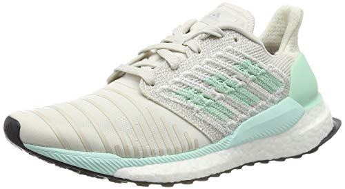 adidas Solar Boost W, Chaussures de Running Femme, Blanc Raw White/Clear  Mint/Active Purple, 40 2/3 EU
