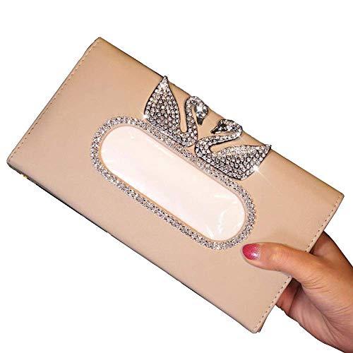 Crystal Diamond Swan Auto Taschentuchhalter für Sonnenblende Leder Auto Hängende Taschentuchhalter Diamant Sonnenschirm Fall Mädchen Autozubehör, JiangKui, Beige