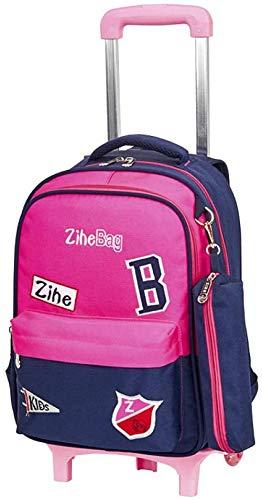 B/H Lovely Girls Waterproof Nylon School Backpack,Primary school trolley school bag, 6-wheel detachable tow bar-Powder,Wheeled School Backpack for Children