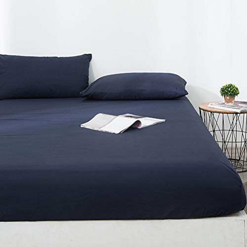 Bedding Coprimaterasso Singolo Impermeabile Proteggi Materasso Traspirante Protezioni Coprimaterasso Protezione da Liquidi, Insetti E Acari (Color : Navy, Size : 120x200+30cm)
