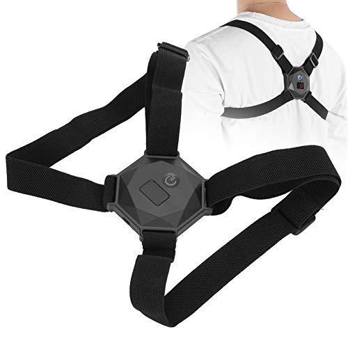Corrector de postura para mujeres y hombres, ajustable en la parte superior de la espalda, enderezadora de espalda, cinturón de corrección de postura con pantalla LCD, transmisión de voz(negro)