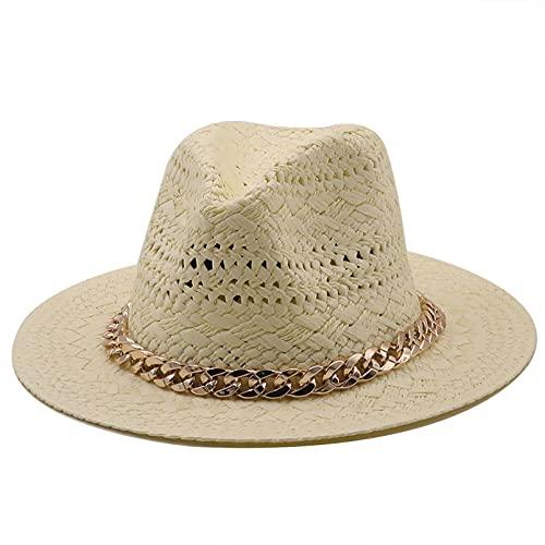Sombrero Playa Mujer Sombreros de Verano de ala Ancha de Color Caqui Gorras de Jazz Mujeres Hombres Banda Casual cinturón Cadena Primavera Paja Playa al Aire Libre panamá Sombreros para el Sol