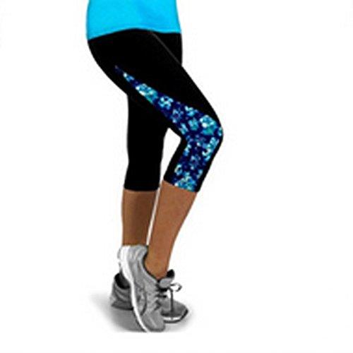 MEIbax Pantalón Cortas Deportivo para Mujer 3/4 Leggings Deportes Pantalones Flor Lateral...