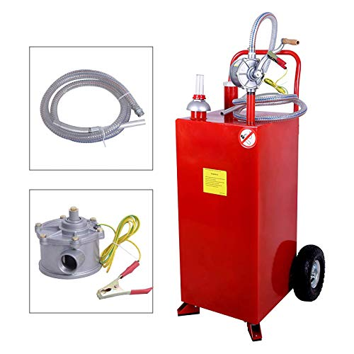 Nurxiovo Pro 30 Gallon Gas Caddy Hand Siphon Fuel Diesel Transfer Pump Portable Fuel Storage Tank Rolling Gasoline Can for Car Boat ATV with Wheels