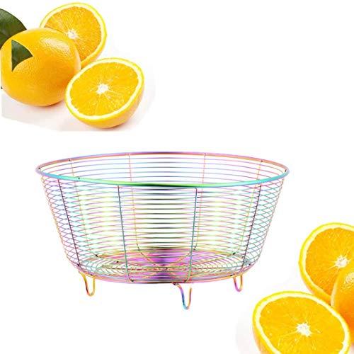 QIBOORUN Fruit Basket Bowl Stainless Steel Fruit Storage Basket Wire Bowl for kitchen with Bread Vegetables, Sleek Design With Sturdy Steel Construction -Rainbow