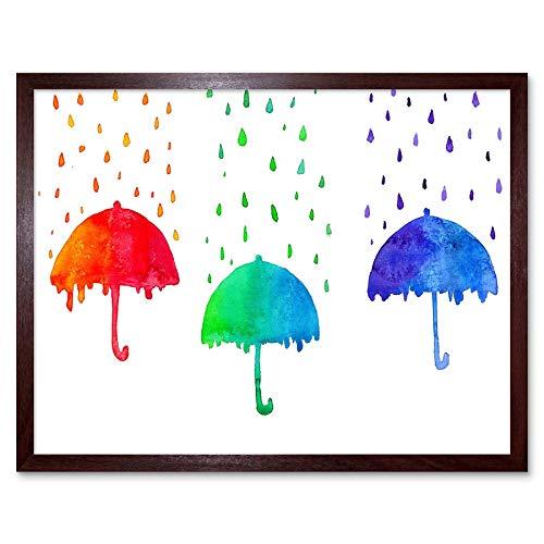 Wee Blauwe Coo Schilderen Tekenen Regenverf Paraplu Brolly Art Print Ingelijste Poster Muurdecoratie 12X16 Inch