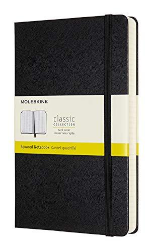 Moleskine Klassisches Kariertes Notizbuch (mit Zusatzseiten, Hardcover mit elastischem Verschlussband, Größe A5 13 x 21, 400 Seiten) schwarz