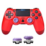 PS4 Gaming Wireless Controller,Zamia Wireless Bluetooth USB Controller Gamepad Joy pad with Thumbsticks Caps Built-in Gyro/Speaker/Dual Vibration (Red)