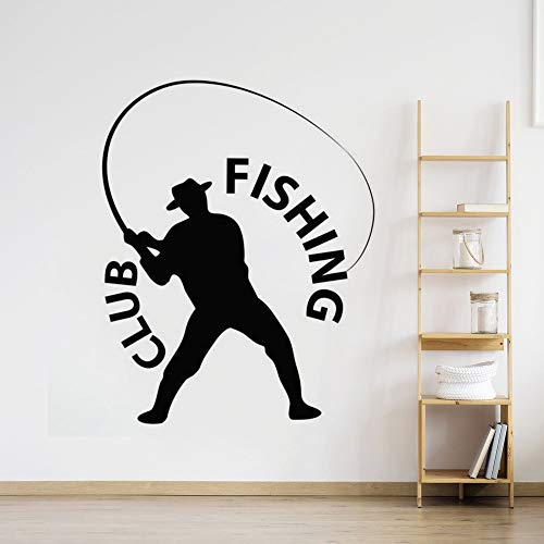 wZUN Pesca Pescador Etiqueta de la Pared Logotipo del Club de Pesca Etiqueta de la Ventana de la Pared Decoración del hogar Etiqueta de la Pared 39x50cm