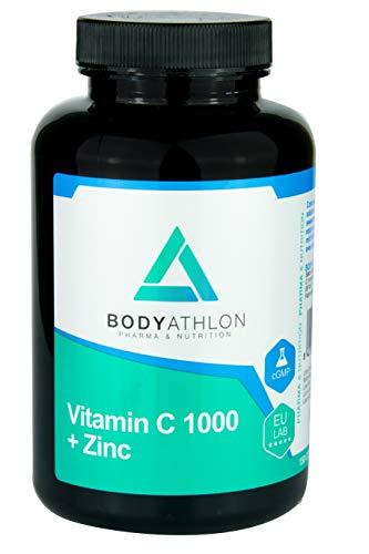 Bodyathlon– Vitamina C 1000mg + Zinc– Fortalece el Sistema Inmunológico– Refuerza las defensas- Evita el cansancio y la fatiga– Antioxidante– Aumenta la producción de colágeno- Vegano- Sabor Naranja