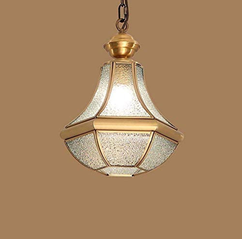 Led Unterbauleuchte Lichtleiste Deckenlampependelleuchte Kronleuchter Restaurant Licht American Village Kupfer Single Head Glas Balkon Licht 26  35Cm