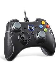 PS3 Controller, EasySMX joystick voor games met kabel met dubbele vibratie, turbo en frontknoppen voor Windows / Android / PS3 / TV Box (grijs)