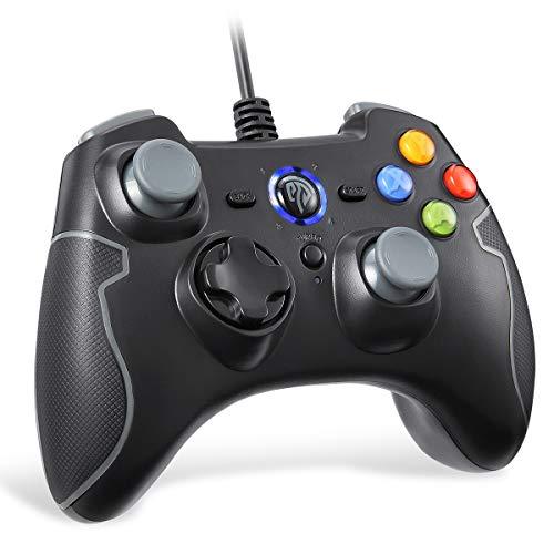 EasySMX [Manette PC PS3 Filaire] Manette PS3 Filaire avec Double Vibration, Gamepad Connecté par Fil pour PC/Android / PS3 / TV Box (Gris)