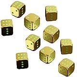 Dados Multifuncionales Metálico Luminous Large Dice Gold Dice Dice Sieve Bar Entretenimiento Artículos Luminoso Dados Set (2 Juegos) Accesorios del Juego (Color : Gold, Size : 17X17X17mm)