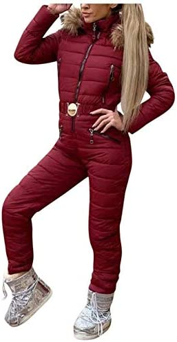 Womens Winter Ski Suits Hooded Onesies Jumpsuit Thick Hot Snowboard Fur Collar Coat Jumpsuit product image