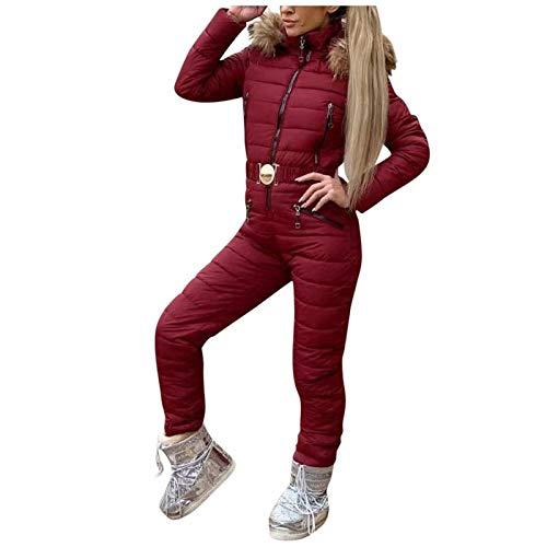 Lazzboy Skianzug Damen Schneeanzug Skioverall Skifahren Skianzüge Overall Jumpsuit Frauen Snowboard Skisuit Outdoor Sport Winter Warme Schnee Sätze Mit Kapuze ( Wein,L )