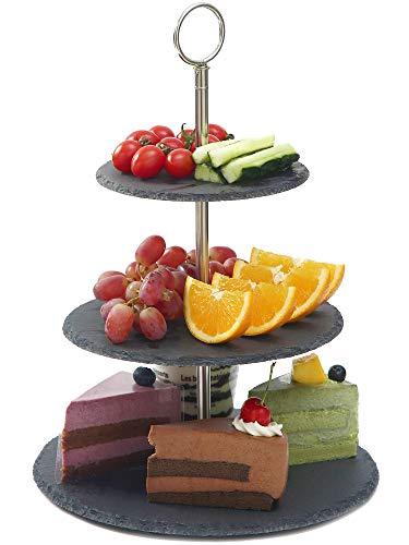 Praknu Schiefer Etagere 3-Stöckig - Standfest - Belastbar - Für Dessert und Obst