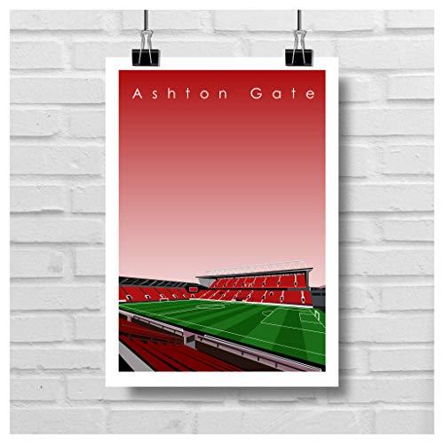 Home.Ground.Prints Wall Art Graphic Design Football Stadium Gift Print Collection - Bristol City FC 'Ashton Gate' BCFC