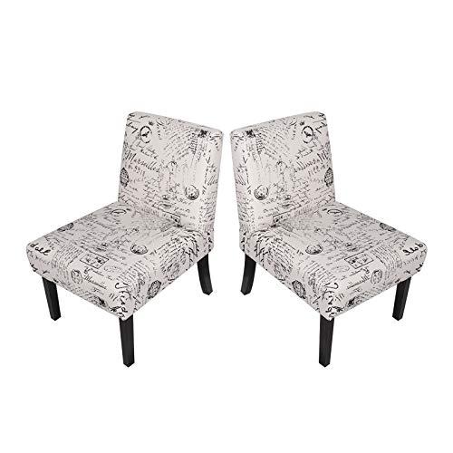 sogesfurniture BHEU-WH-5087W Moderne Stühle für Küche und Esszimmer, französischer Druck, Lounge, Wohnzimmer, Eckstuhl mit Armlehnen und Rückenlehne, 2 Stück