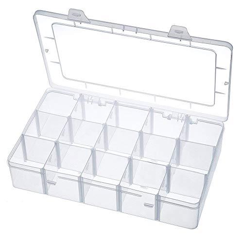 Aufbewahrungsbox 15 Raster Kunststoff Verstellbare Schmuck Organizer Box Container Aufbewahrungskoffer Sortierbox mit Abnehmbaren für Trennwänden Spulen Perlen Beautyzubehör Nagellack (15 Fächer)