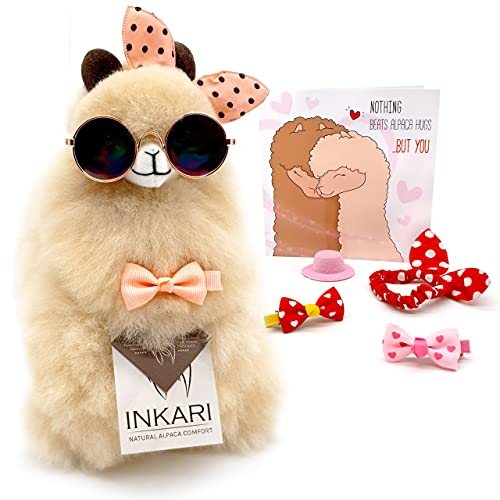 Inkari Alpaka Kuscheltier Geschenkset Love - aus echter Alpaka-Wolle, super flauschig, nachhaltig und fair produziert