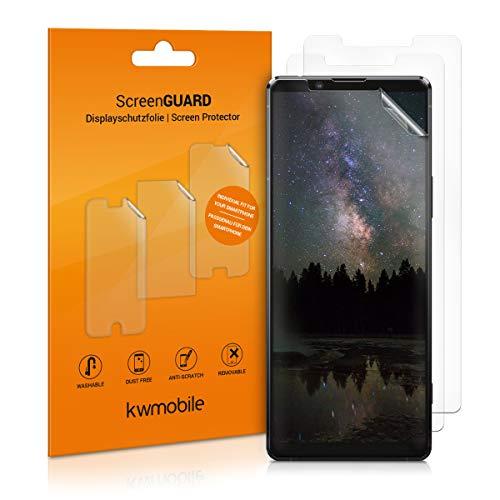 kwmobile 3X Schutzfolie kompatibel mit Sony Xperia 10 II - Folie klar - Bildschirmschutzfolie Bildschirmschutz transparent Bildschirmfolie