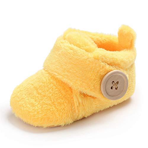 TMEOG Unisex Baby Jungen Mädchen Schuhe Winter Kleinkind First Walkers Stiefel Baby Runde Zehen Flats Weiche Sohle rutschfeste Schuhe (Gelb, 6_Months)
