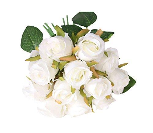 5 Pièces Rose Artificielle Capitules Tete Fleur Faux Artificielle pour Home Décoration/Mariage Decor Blanc