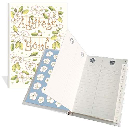 Libreta de direcciones de bolsillo de lujo – Diseño de anémona – 104 páginas – Tamaño 91 mm x 130 mm