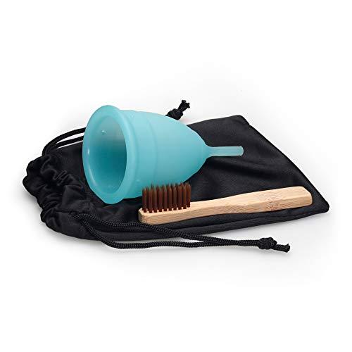 SpaceToy Menstruationstasse aus hochwertigem medizinischen Silikon für normale oder starke Blutung, BPA FREI, Menstruationskappe inkl. Reinigungsbürste & Beutel, Größe: L, Farbe: Blau
