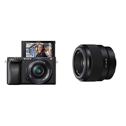 Sony Alpha ILCE-6400 Appareil Photo Numérique Hybride 4K Autofocus Ultra-Rapide Type E capteur APS-C Objectif 16-50 mm & SEL 50-F18F Objectif 50 mm Ouverture F1.8 pour Monture E Sony