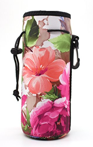 Water Bottle Carrier,Insulated Neoprene Water Gym Travel Bottle Holder Bag Protector Sleeve Case Pouch Cover 0.6L or 0.75L, Great for Stainless Steel and Plastic Bottles (Flower)
