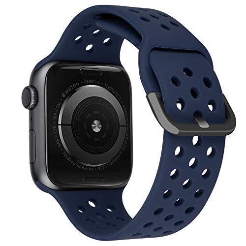 MroTech Correa Compatible para iWatch 41mm 40mm 38mm Watch Band Correas de Reloj Silicona Suave Banda Deporte Pulseras de Repuesto para iWatch Series 7 6/SE 5 4 3 2 1 38/40/41 mm Azul Oscuro