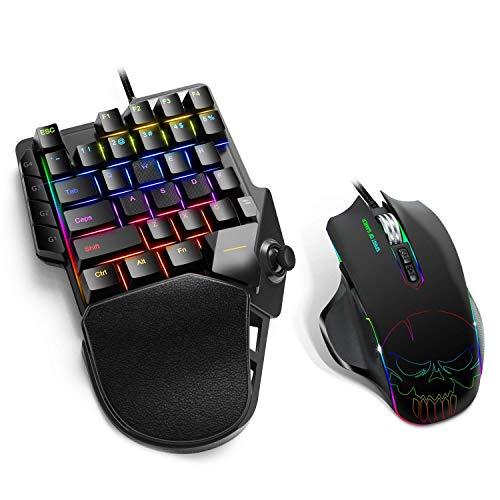 Spirit Of Gamer - Xpert G900 Converter - Pack 3 in 1 RGB-Tastatur + Maus + Mauspad für PS4-, XBOX ONE-, SWITCH- und PC-Konsolen - Opto-mechanische Tastatur Einhandschalter rot - Maus 7 Tasten 3200 DPI