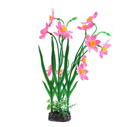 LWANFEI Künstliche Plastikblumen Pflanzen Dekor Aquarium Aqua Landschaft Wasser Gras Pflanze Ornament, Pink