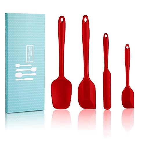 SveBake Espátula de silicona – 4 unidades de espátulas resistentes al calor, sin BPA, con núcleo de metal para cocinar y hornear, color rojo