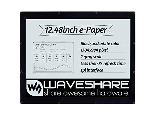 Waveshare 12.48inch E-Ink Display Module Black and White Dual-Color SPI Interface 1304×984 Resolution No Backlight Supports Raspberry Pi Series Boards with Acrylic Protective Case