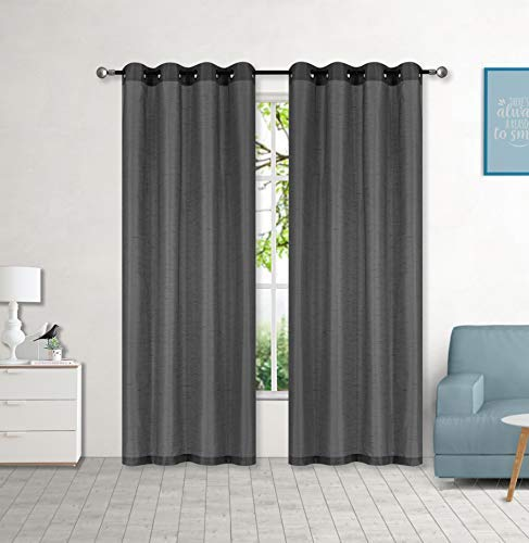 """LinenTopia Faux Silk Curtain Panels (2 Panels of 54"""" W x 95"""" L), Grommet Solid Curtain Panels, Elegant Curtain Panels for Living Room and Bedroom - See Through Panels - (Mary, 95"""", Charcoal)"""
