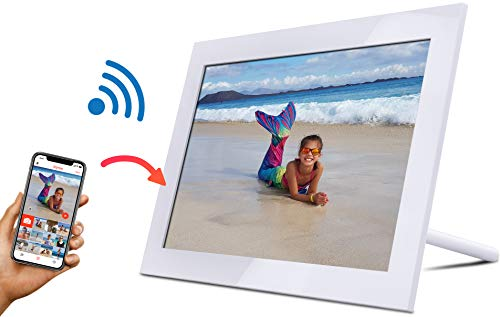 WLAN Digitaler Bilderrahmen, Elektronischer Fotorahmen 10 Zoll 1280 x 800 HD IPS Display WiFi Bilderrahmen