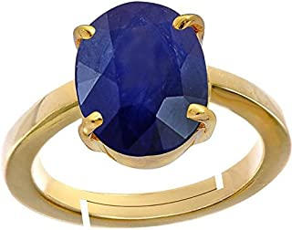 AKSHAY GEMS 6.6 Ct./ 7.25 Ratti Natural Certified Neelam/Blue Sapphire Panchdhatu Adjustable Women Ring